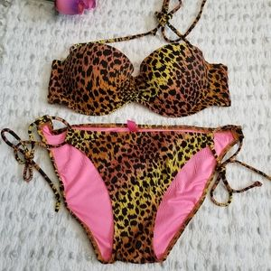 Victoria Secret Bikini removal straps animal print